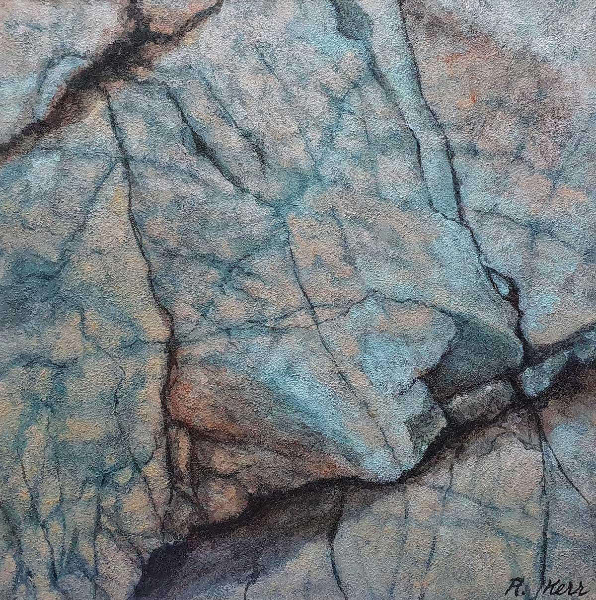 'Blue Black',mixed media on paper, 59cm x 70cm framed